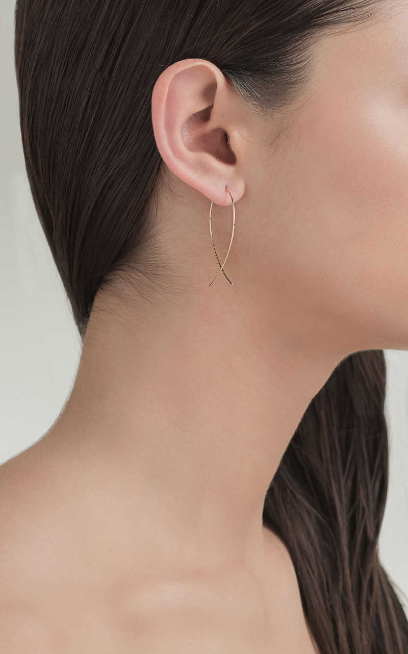 Lana Classic Gold Upside Down Hoops model view