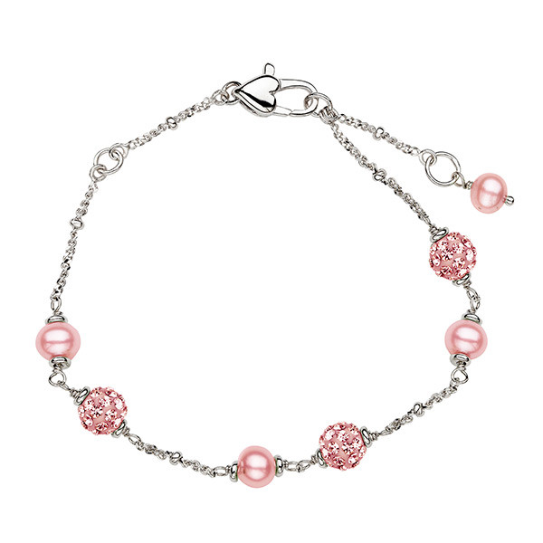 Sterling Silver Pink Potato Freshwater Cultured Pearl & Crystal Tin Cup Bracelet