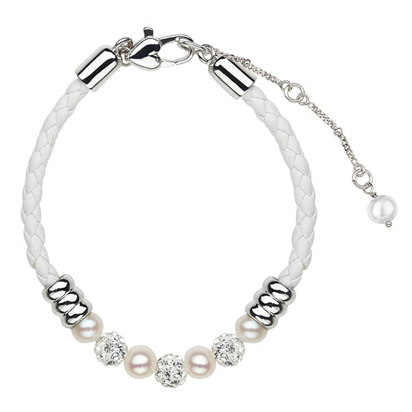 Sterling Silver Leather White 5+mm Potato Fresh Water Cultured Pearls Crystal Bracelet