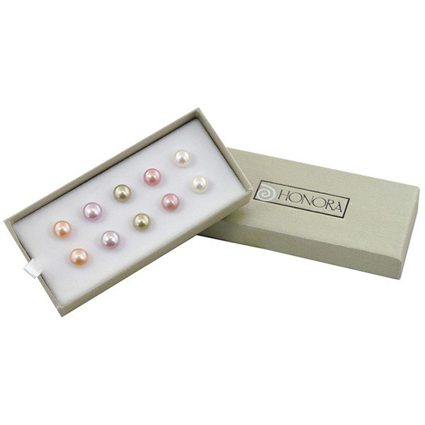 Honora Sterling Silver Watercolor Freshwater Cultured Pearl Stud Earrings Gift Set