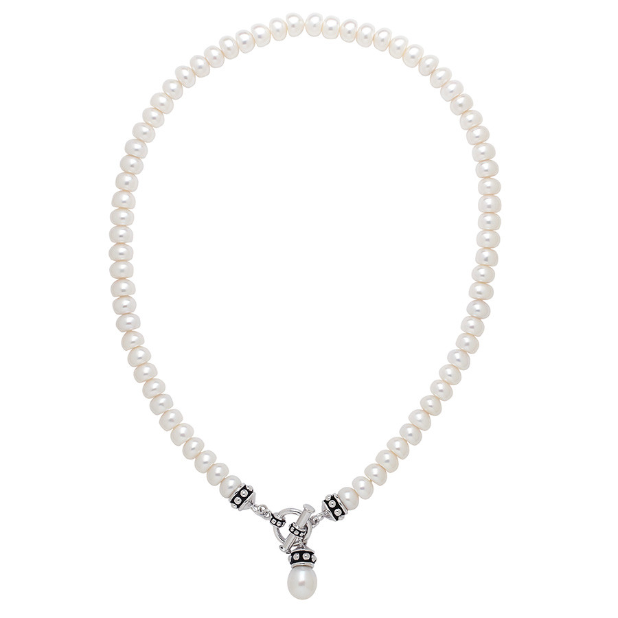 Honora Pallini White Freshwater Pearl Toggle Strand Necklace
