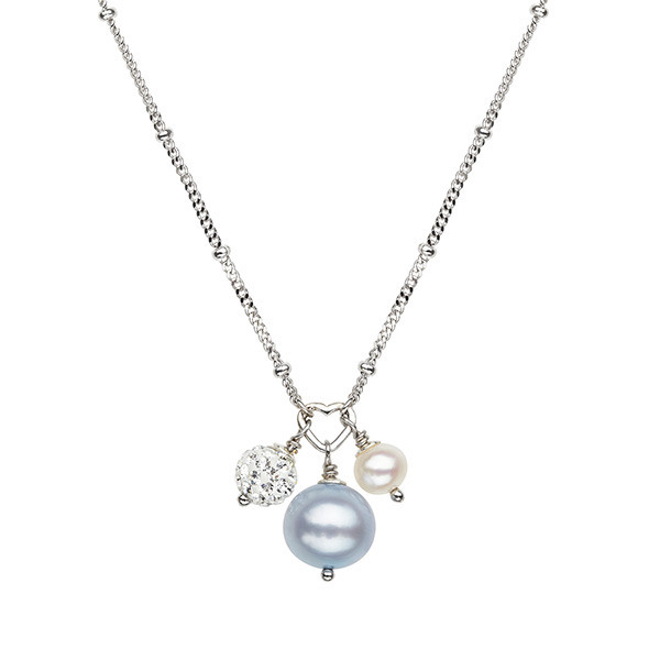 White & Sky Blue Potato Fresh Water Cultured Pearls Crystal Bead Necklace