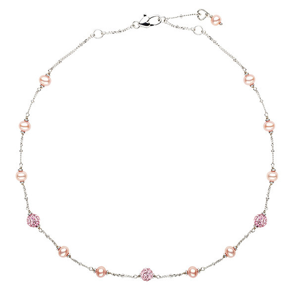 Sterling Silver Pink Potato Fresh Water Cultured Pearls Necklace