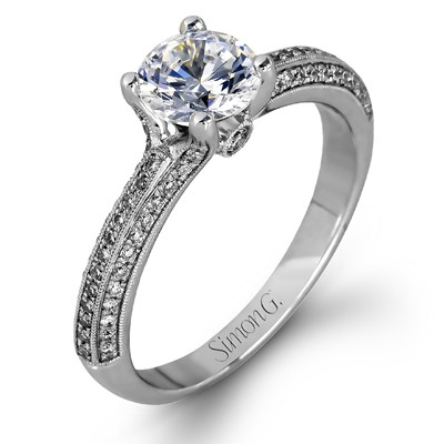 Simon G LP1846 Delicate Pave Solitaire Engagement Setting