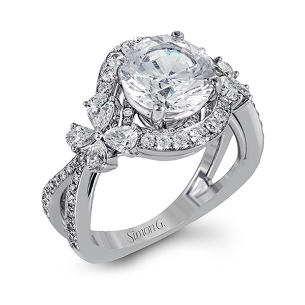 Simon G. Passion Diamond Flower Engagement Ring
