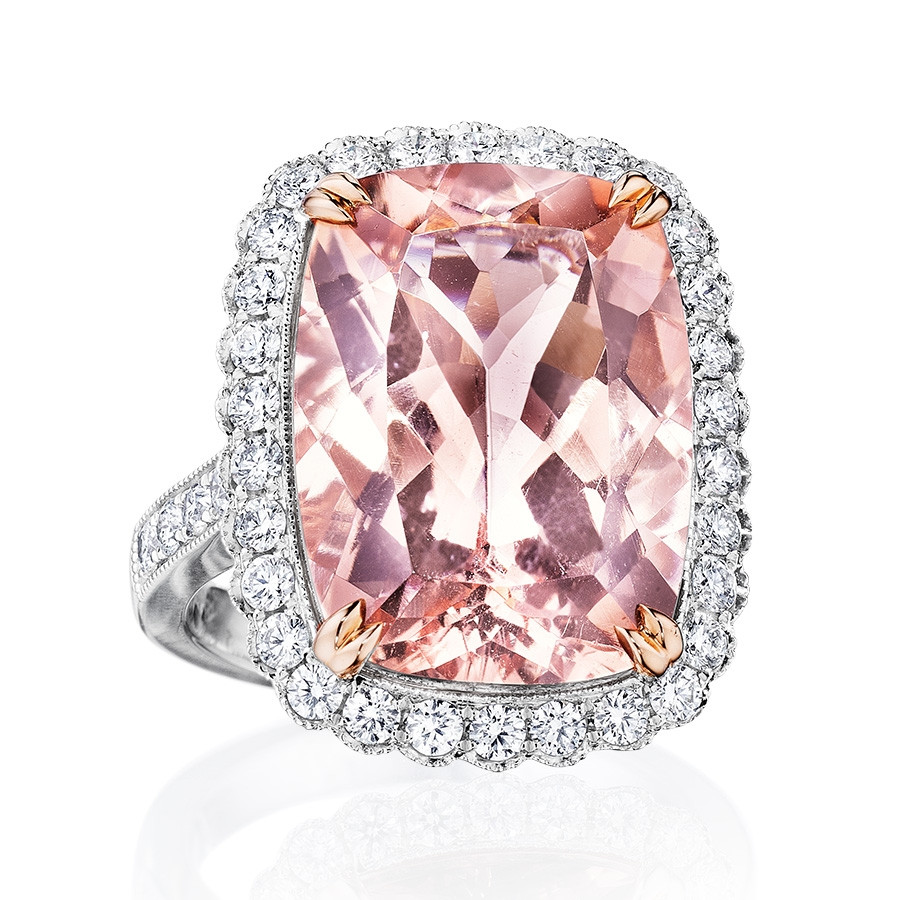 White Gold Morganite & Diamond Halo Ring
