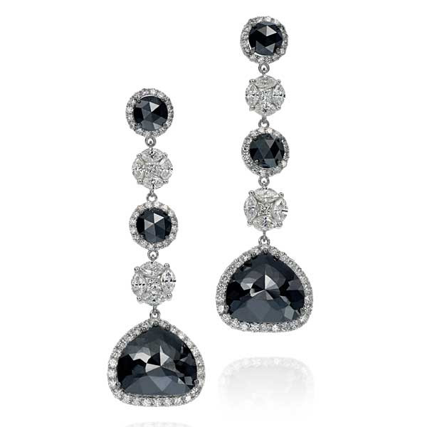 18kt White Gold Black & White Diamond Earrings