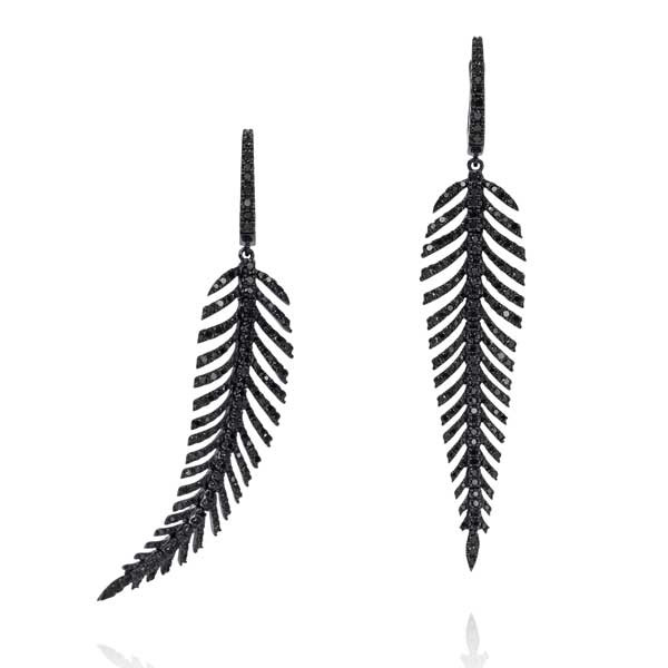 18kt Gold Black Diamond Feather Earrings