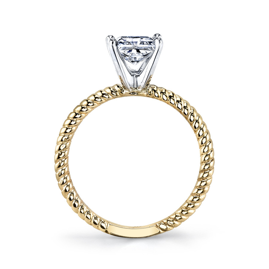 MARS Ever After Princess Solitaire Twist Engagement Ring Setting Side View
