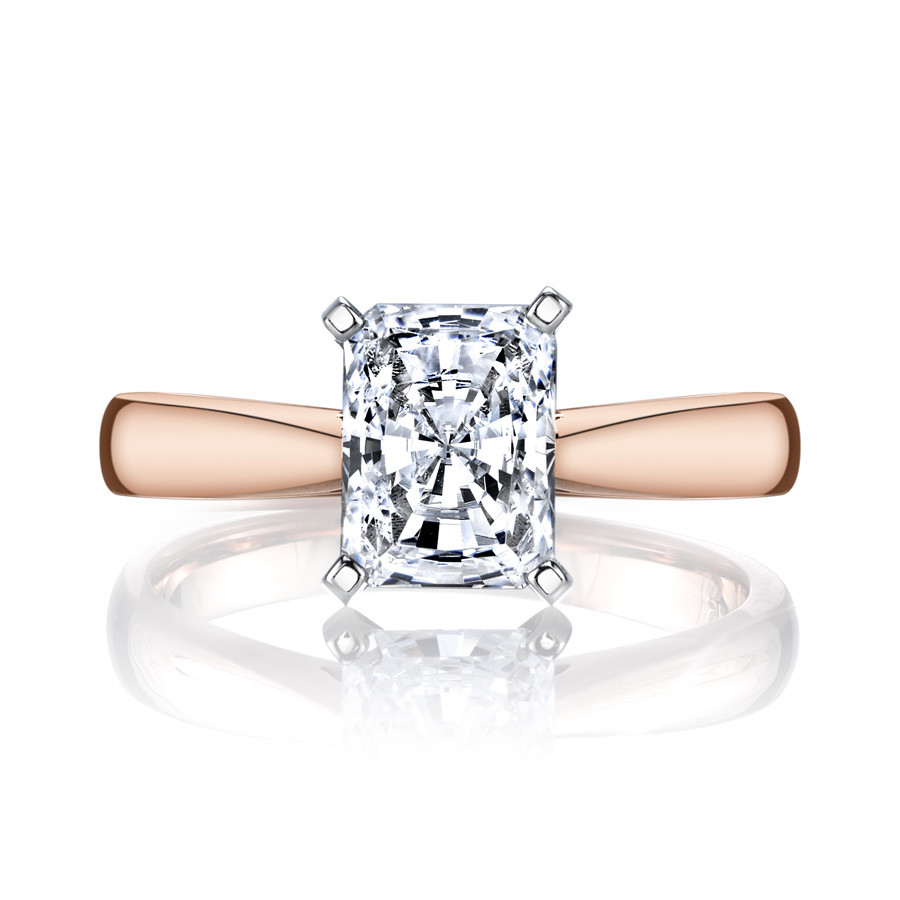 MARS Ever After Emerald Cut Cathedral Solitaire Engagement Ring Setting