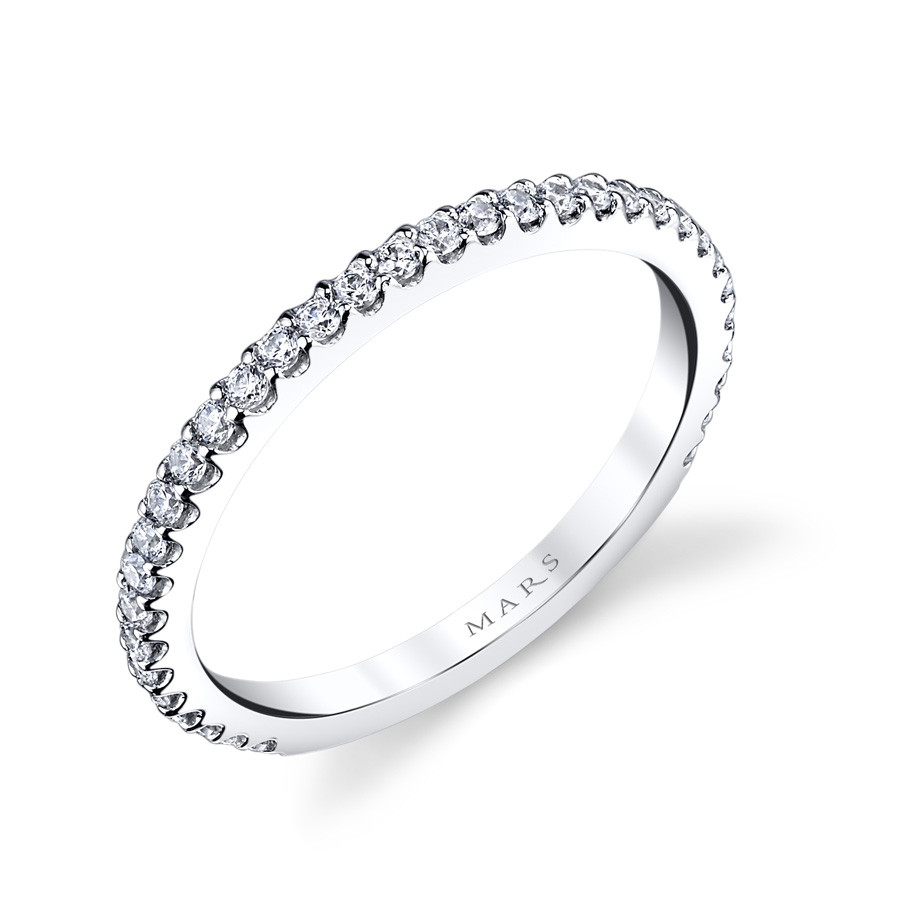MARS Ever After Pave Diamond Wedding Ring Band Angle View