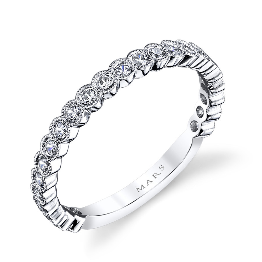 MARS Ever After Bezel Set Diamond Stackable Ring Angle View