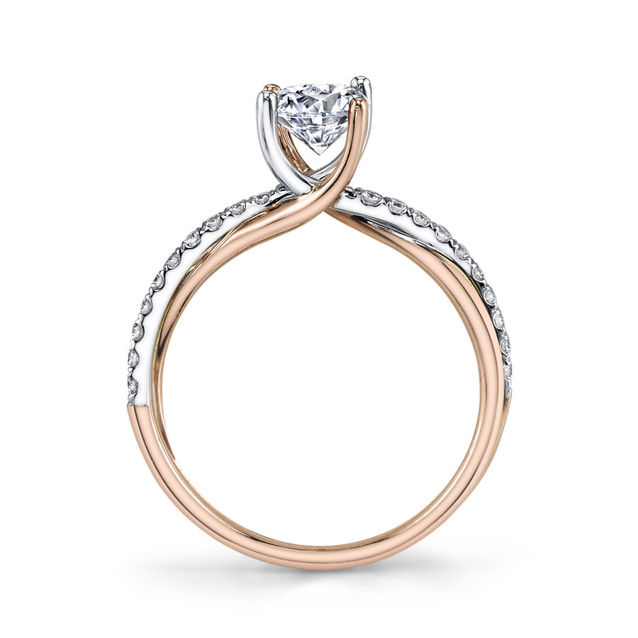 MARS Modern Muses  Pave Diamond Twist Engagement Ring Setting Side View