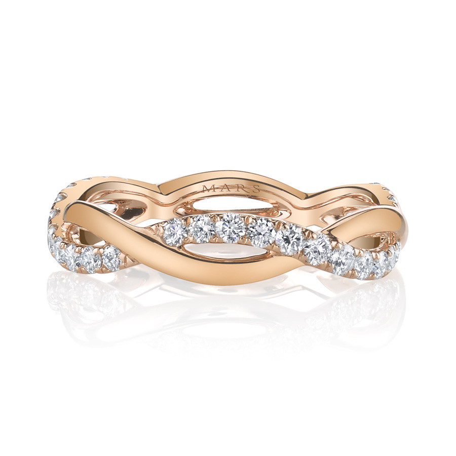 MARS Infinite Allure Stackable Diamond Band Twist Ring Front View