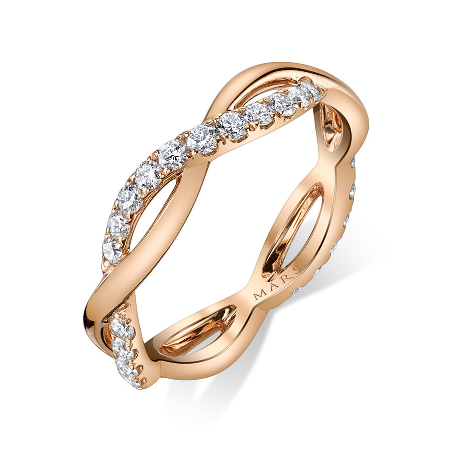 MARS Infinite Allure Stackable  Diamond Band Twist Ring Angle View