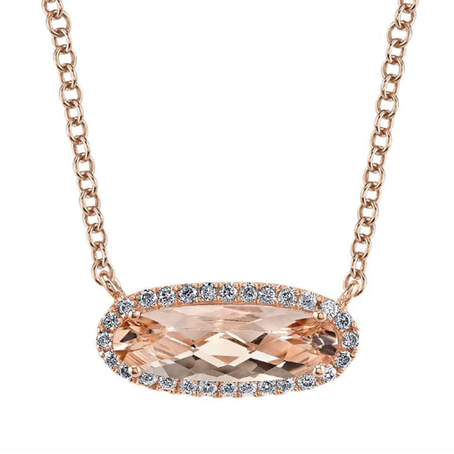 MARS Golden Blossoms Rose Gold Oval Pink Morganite & Diamond Pendant Necklace