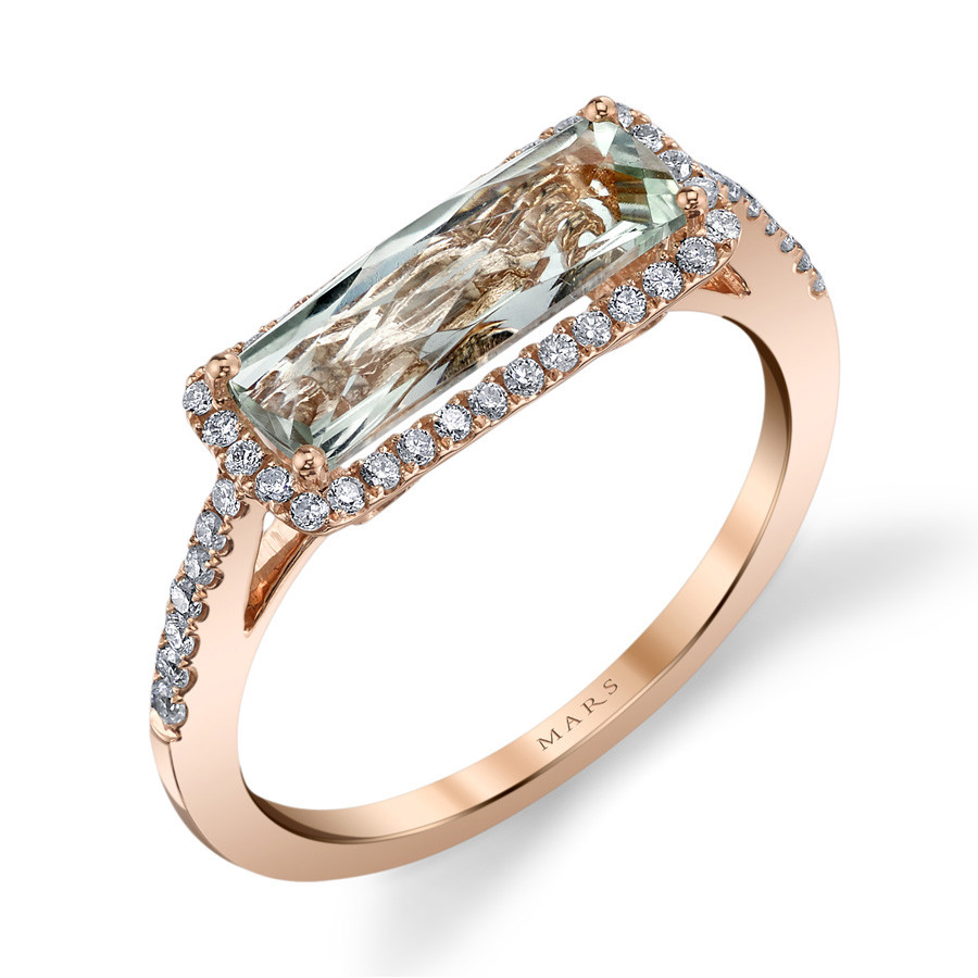 MARS Golden Blossoms Pave Green Amethyst & Diamond Ring Angle View