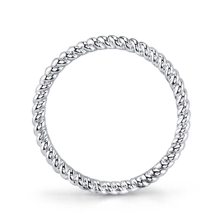 MARS Modern Muses White Gold Twist Stackable Band Ring Side View