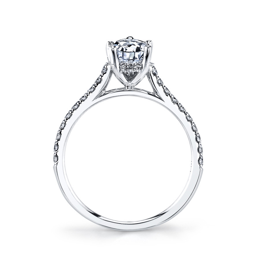 MARS Ever After Pear Shaped Diamond Engagement Ring Setting Side View