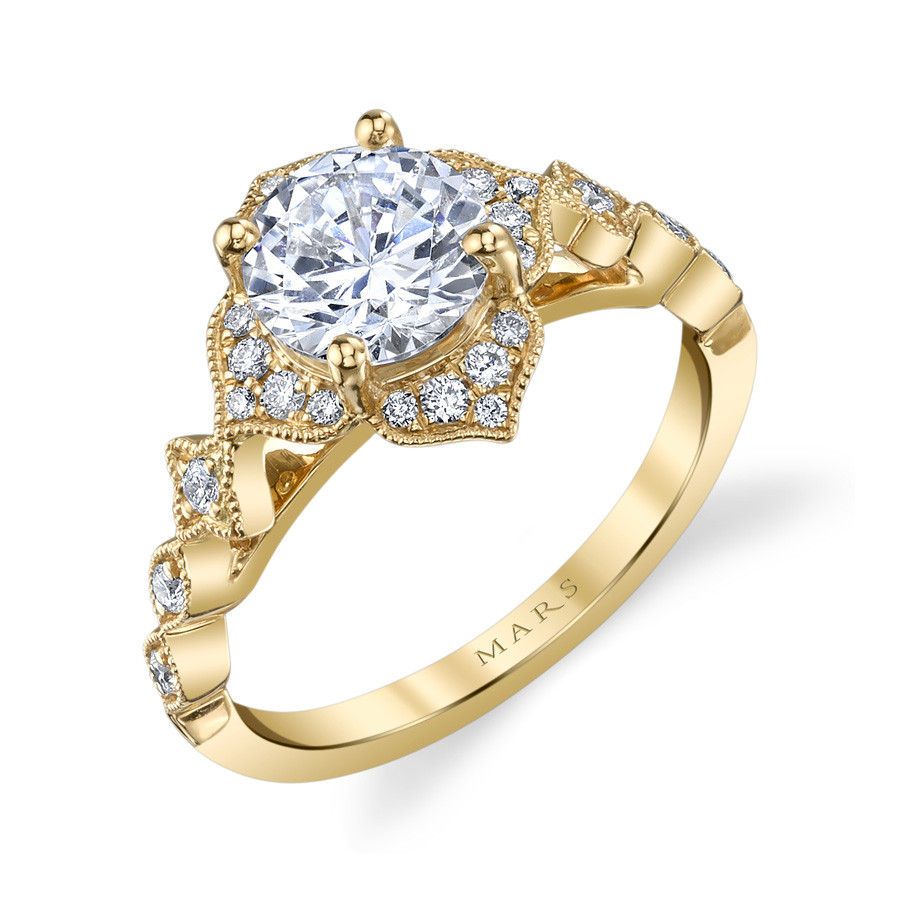 MARS Golden Blossoms Diamond Flower Halo Engagement Ring Setting Angle View