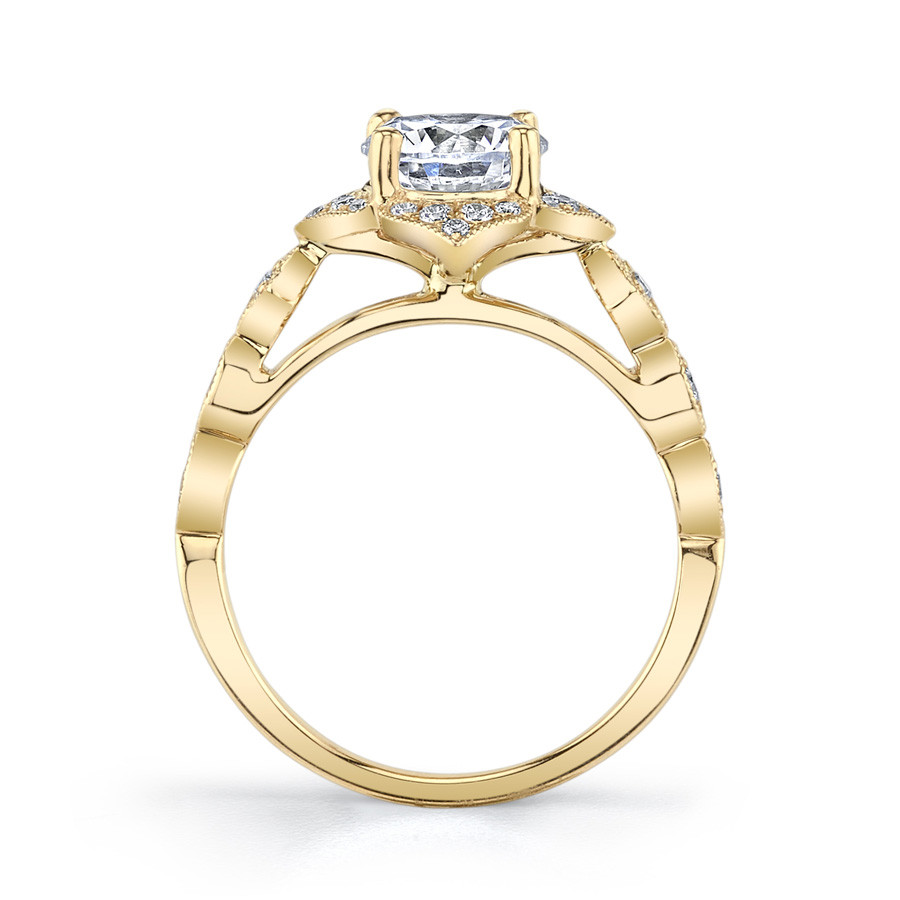 MARS Golden Blossoms Diamond Flower Halo Engagement Ring Setting Side View