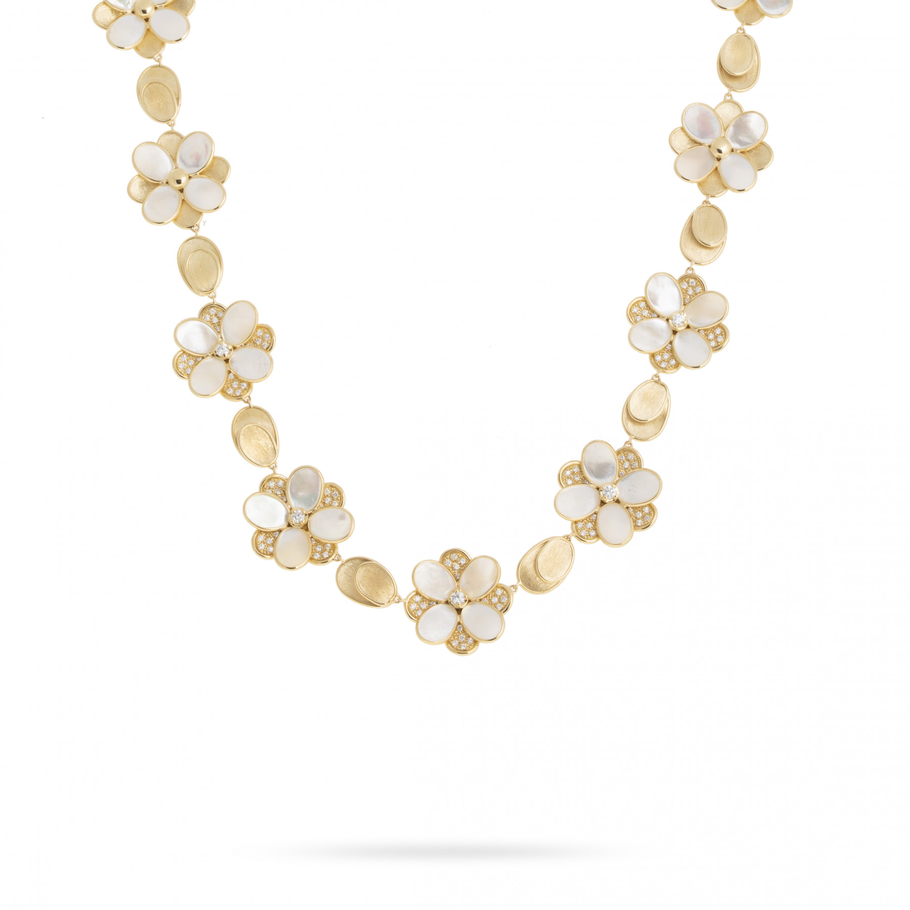 Marco Bicego Lunaria Petali 18K Gold Mother of Pearl Flower Necklace with Diamonds main view