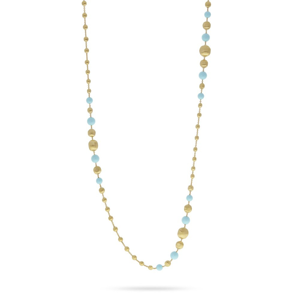 Marco Bicego Africa Gold and Turquoise Long Statement Necklace Main Image