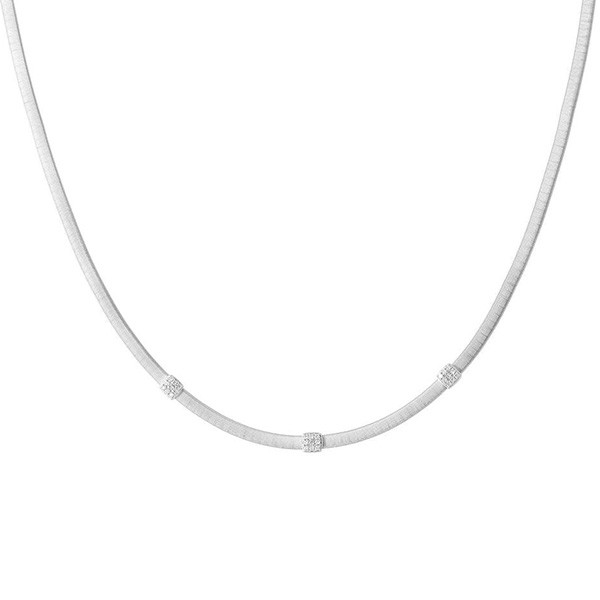 Marco Bicego Masai White Gold Three Station Diamond Necklace