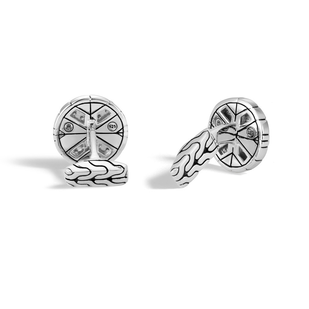 John Hardy Round Modern Chain Sterling Silver & Diamond Cufflinks Back Side
