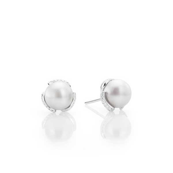 Mikimoto Diamond & Pearl Earrings