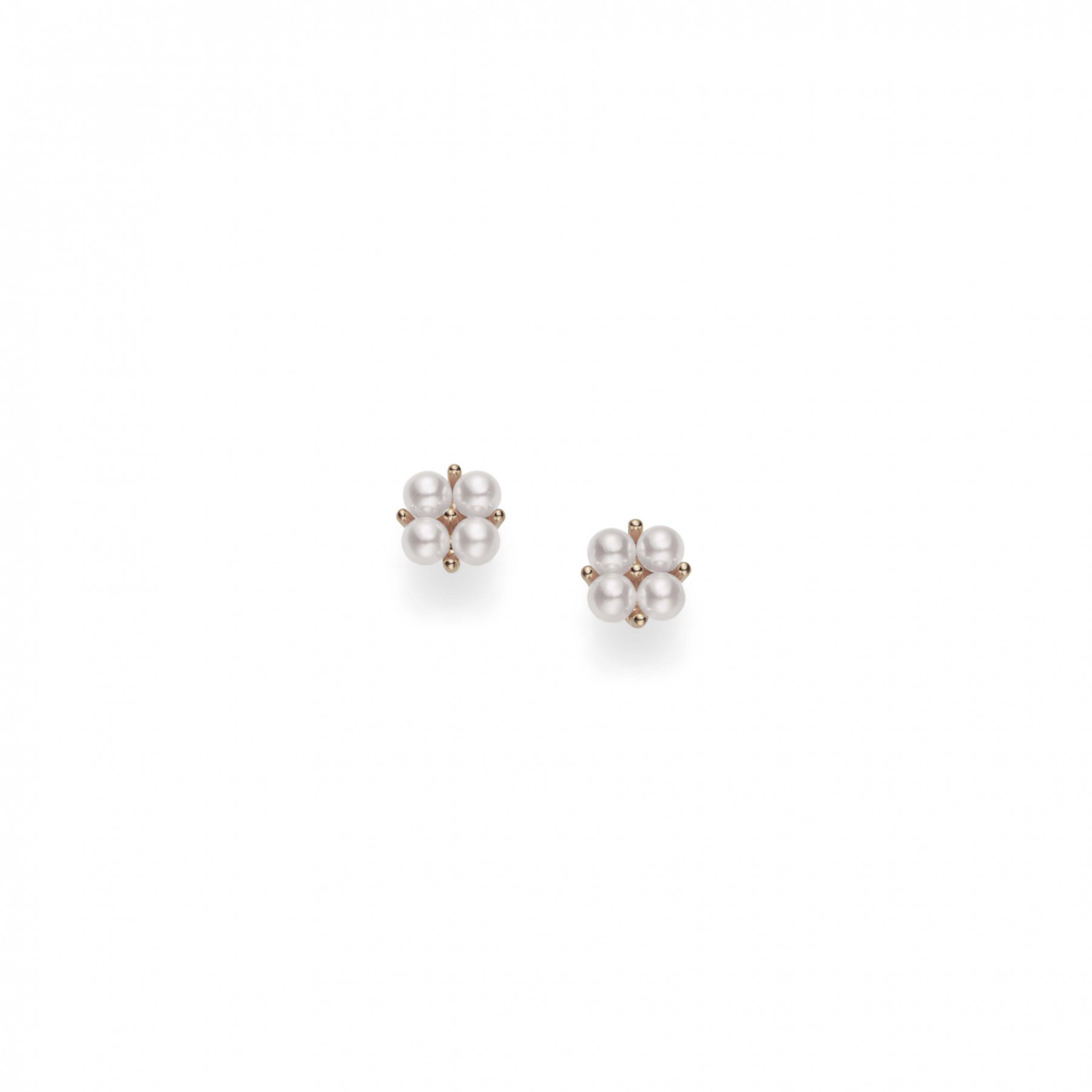 Mikimoto Pearl Cluster Rose Gold Stud Earrings