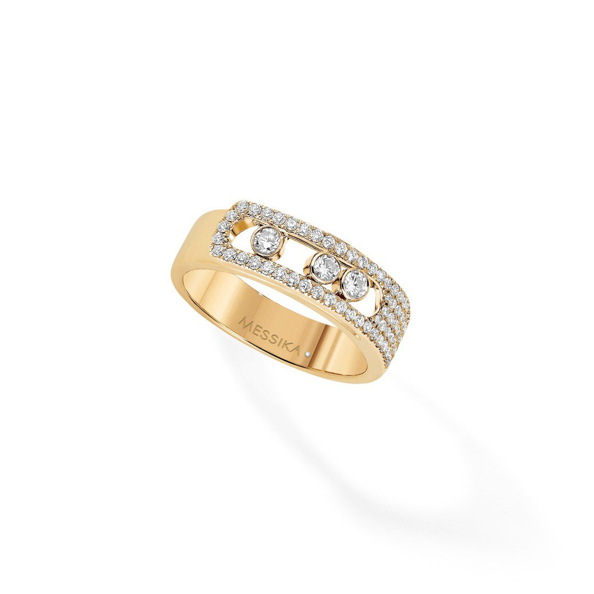Messika Move Noa Pavé Diamond Cage Band Ring in 18K Yellow Gold