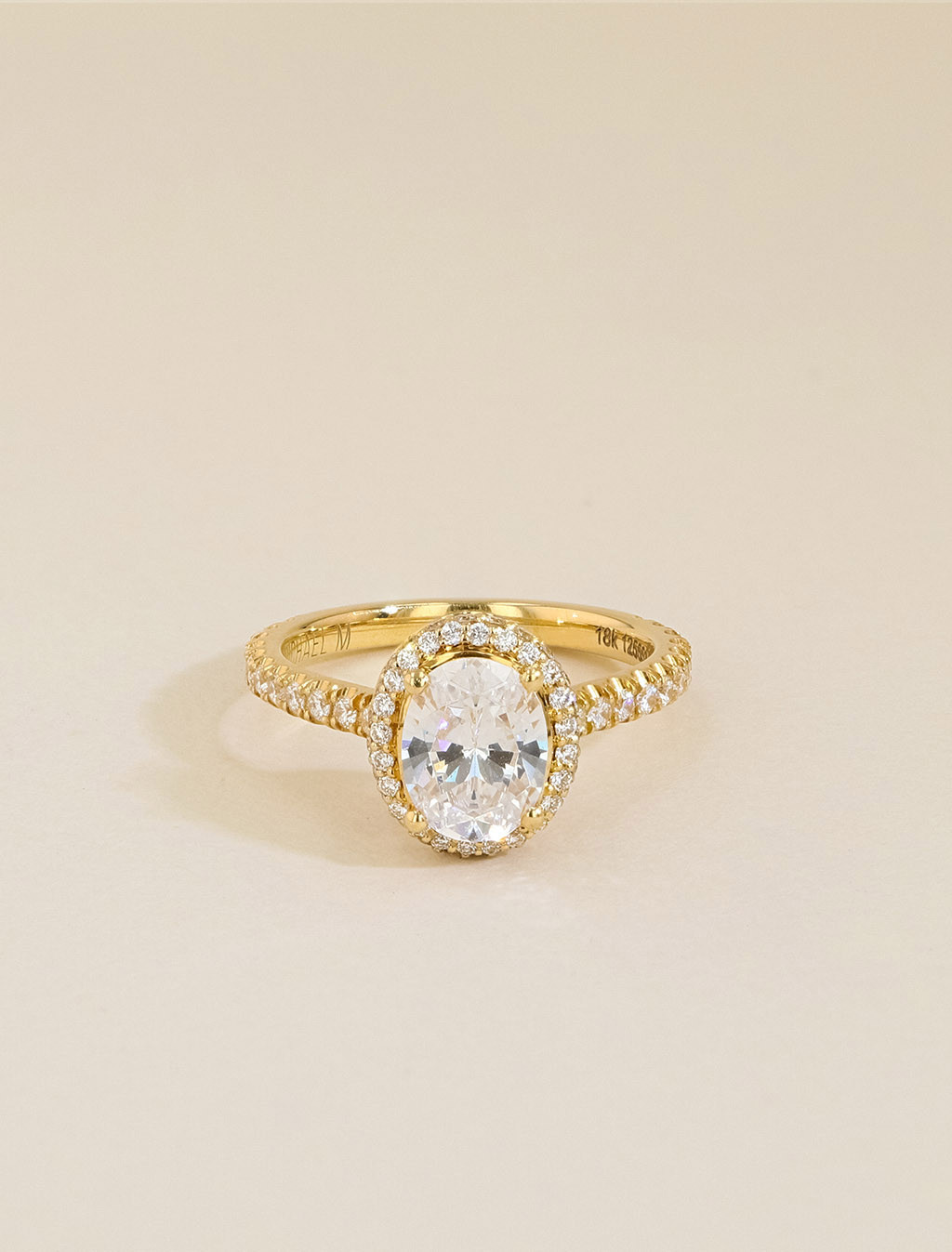 Michael M 18K Gold Oval Halo Pavé Diamond Engagement Ring Setting front view