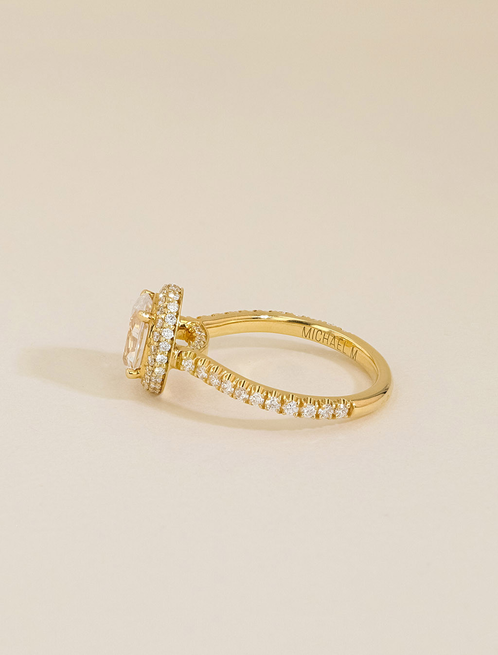 Michael M 18K Gold Oval Halo Pavé Diamond Engagement Ring Setting side view