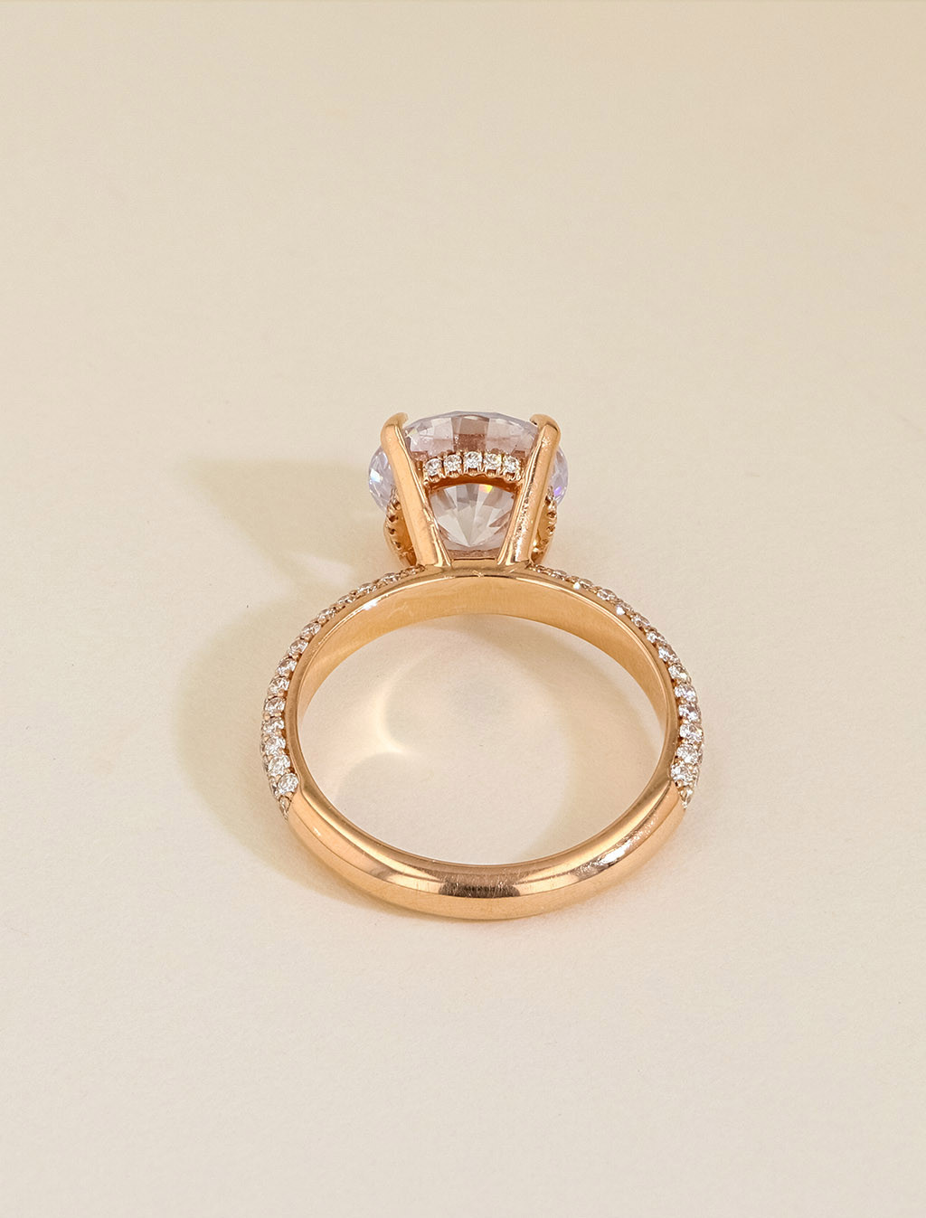 Michael M Round Domed Pavé Diamond Engagement Ring Setting back view