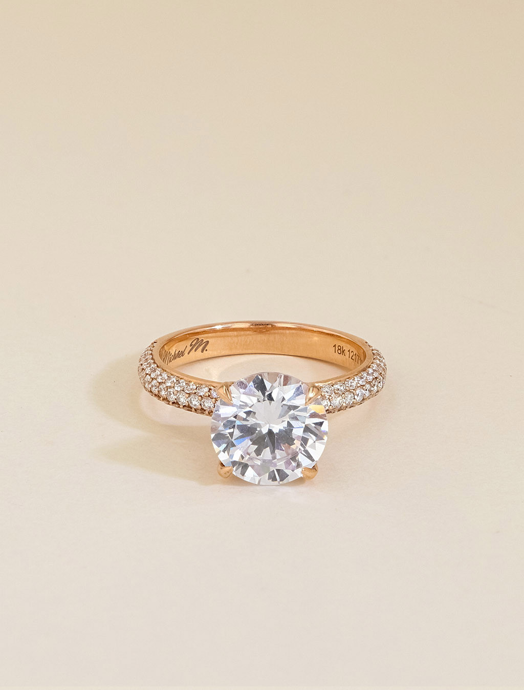 Michael M Round Domed Pavé Diamond Engagement Ring Setting front view