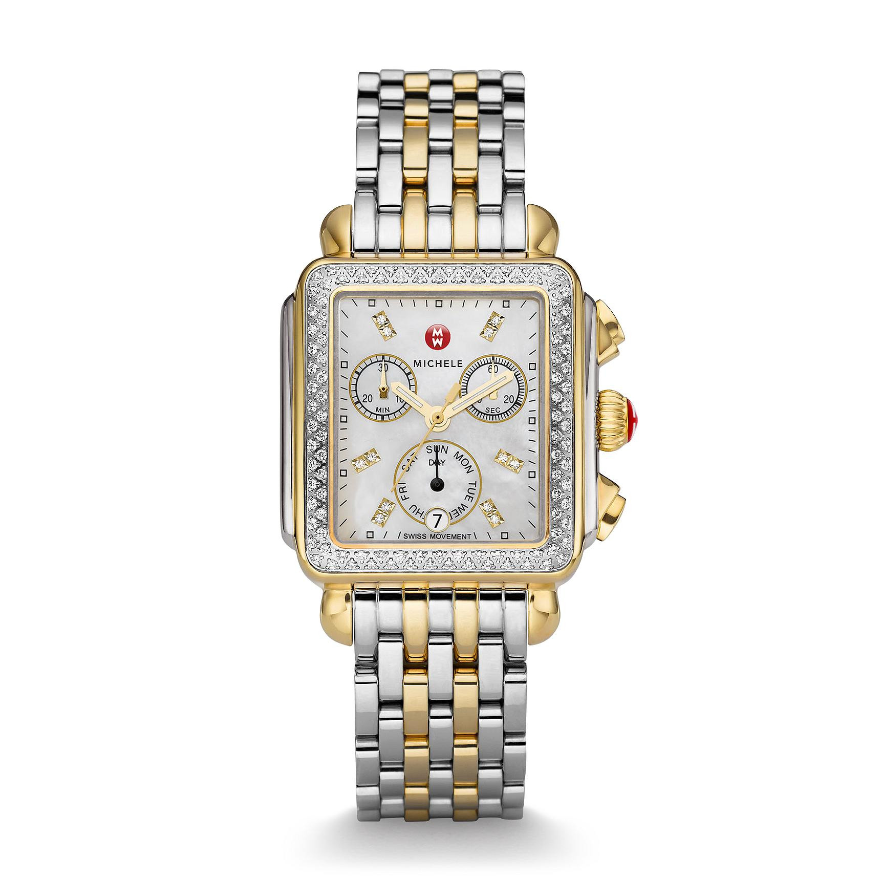 Michele Deco Day Two-Tone Diamond Watch front view