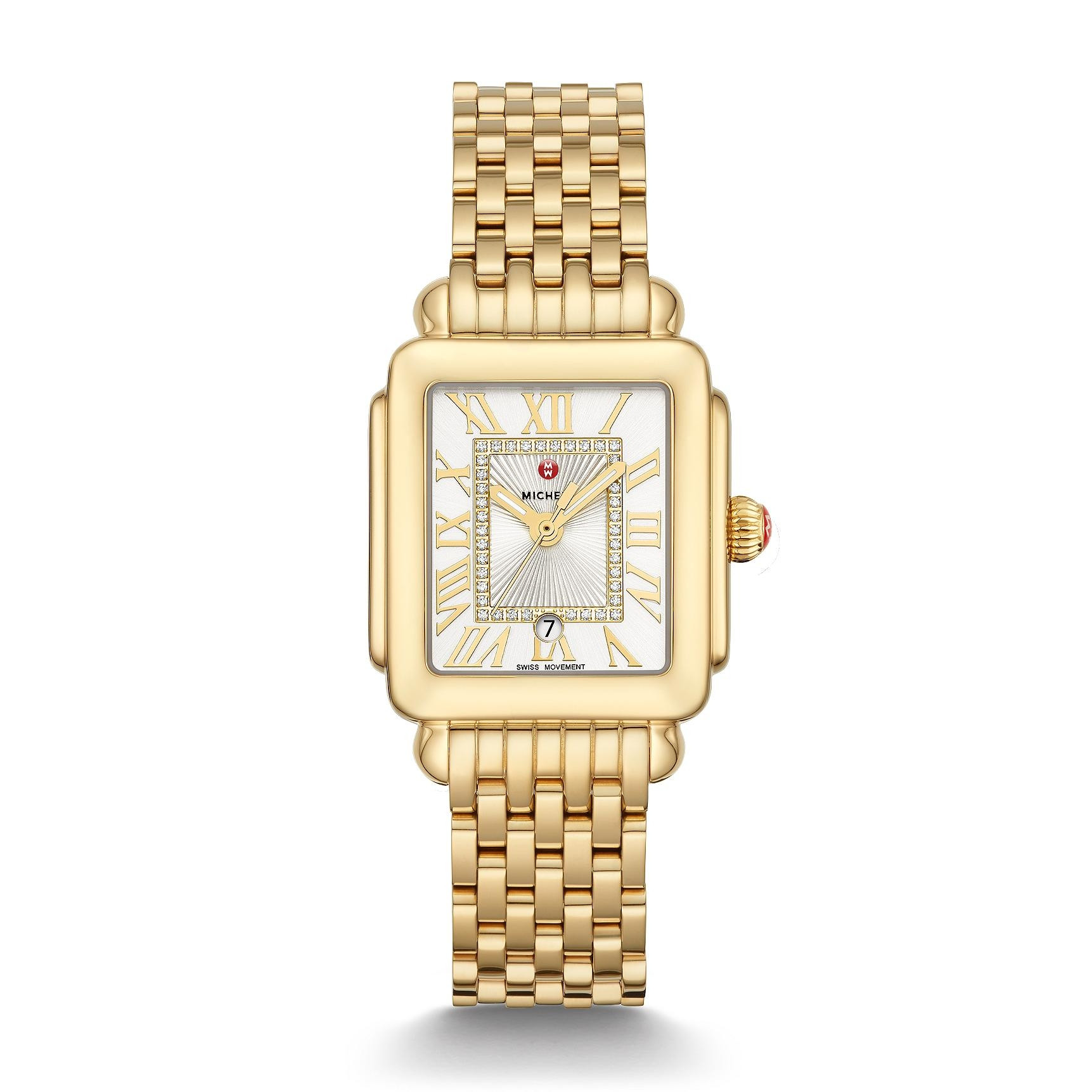 Michele Deco Madison Mid Diamond Dial Watch in Gold full view