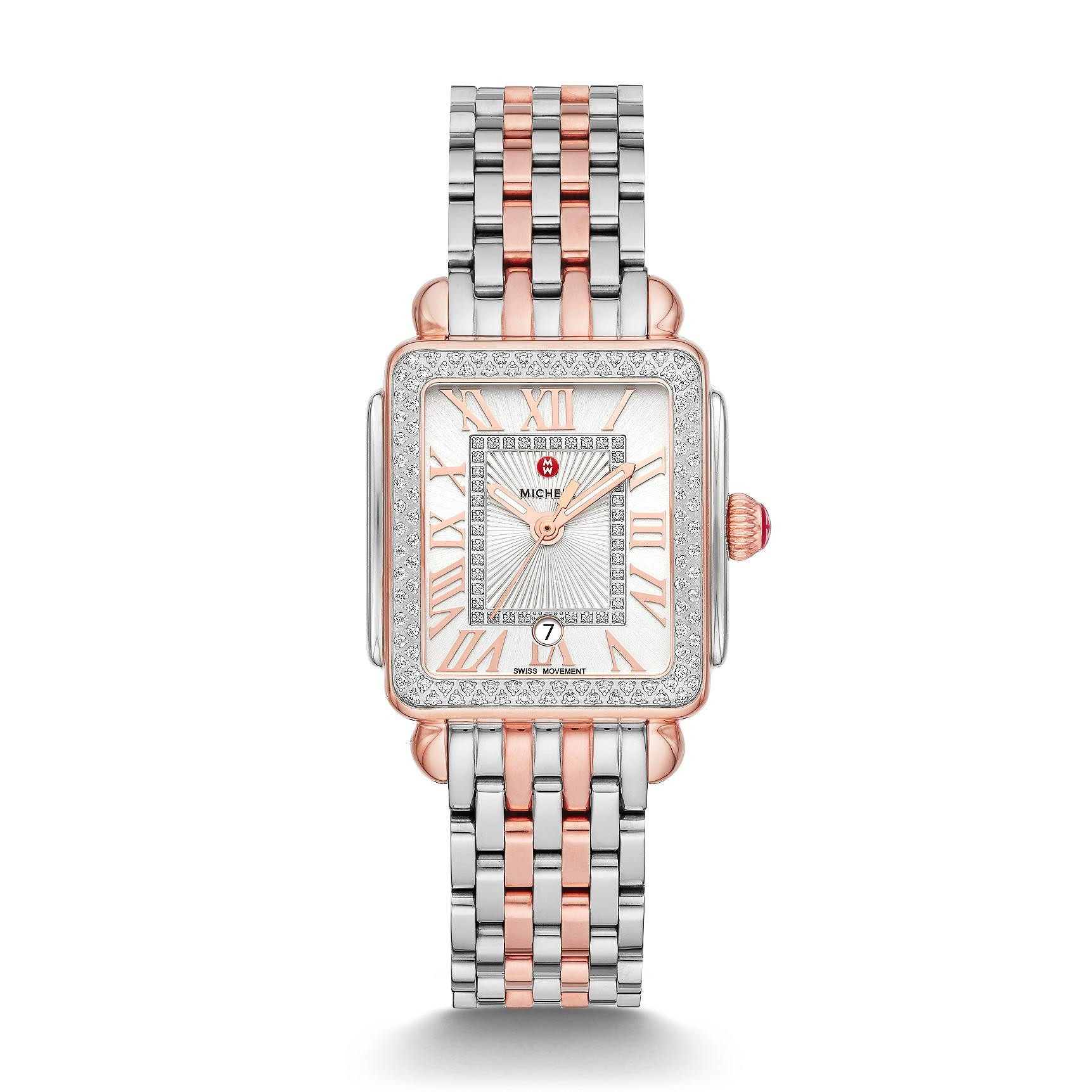 Michele Deco Madison Mid Diamond Dial Watch in Pink Gold and Steel full view