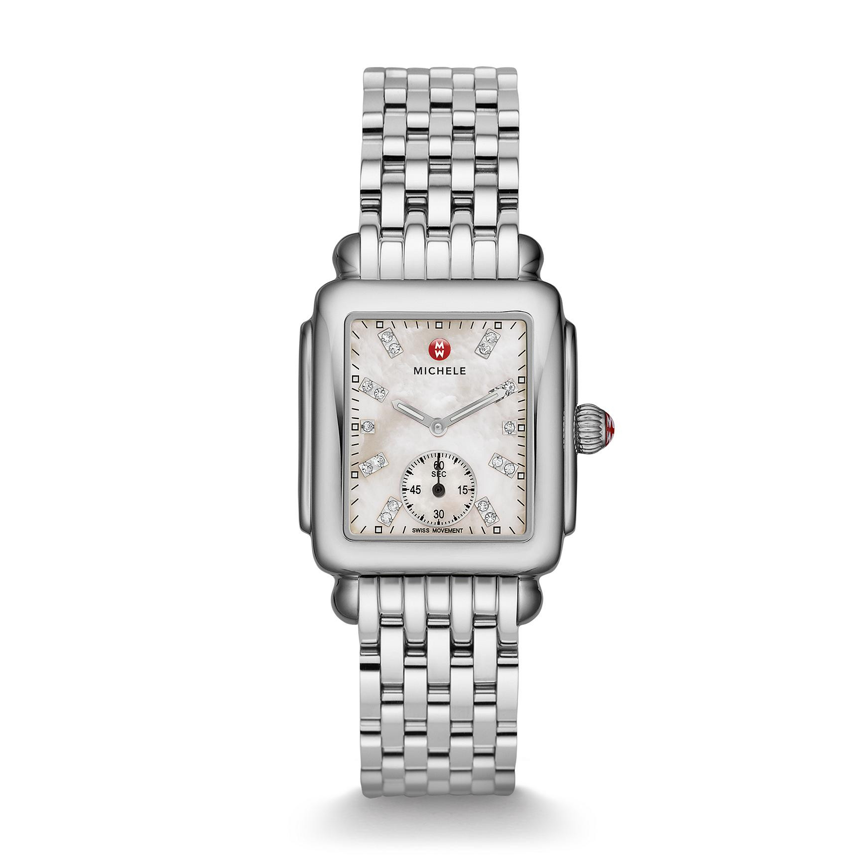 Michele Deco Mid Mother of Pearl Diamond Dial Steel Rectangle Watch front view