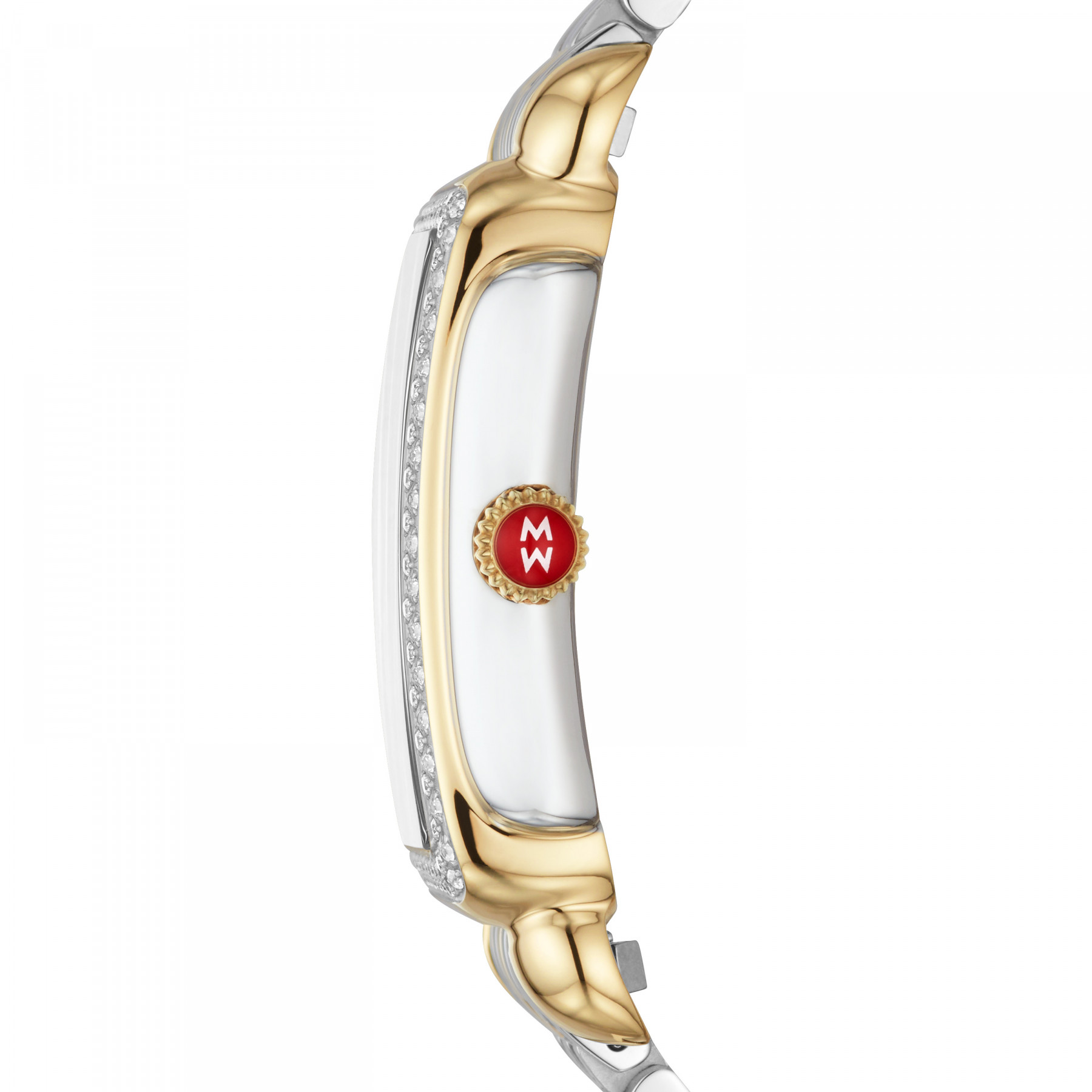 Michele Deco Park Gold and Steel Diamond Watch – 26.5mm side view