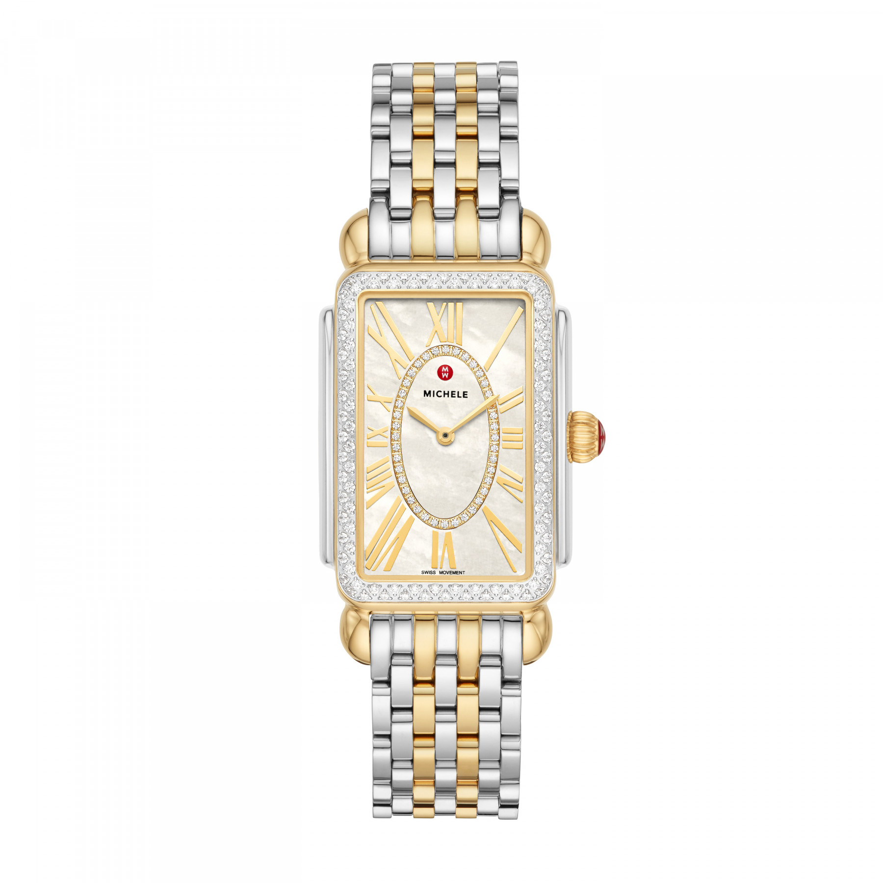 Michele Deco Park Gold and Steel Diamond Watch – 26.5mm front view