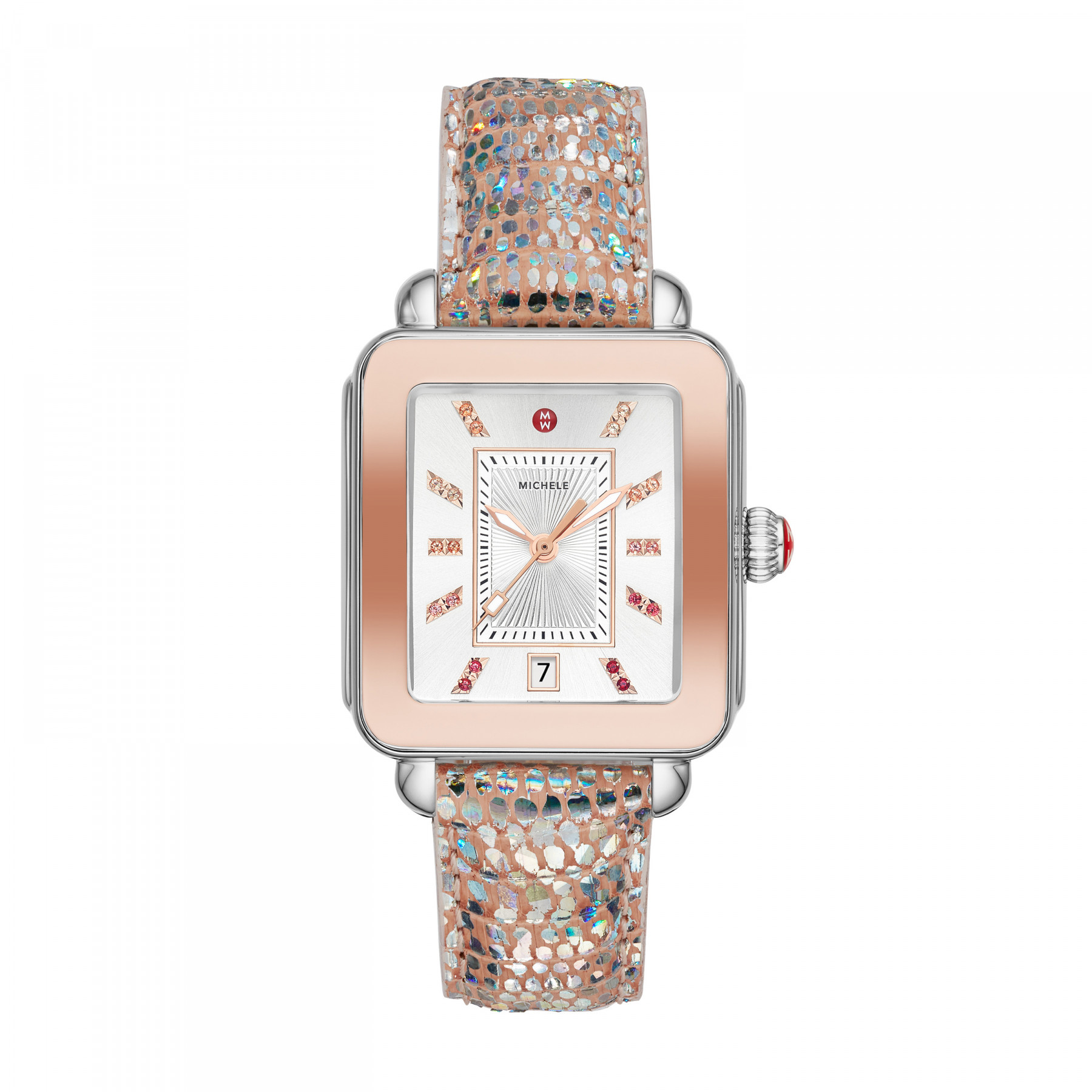 Michele Deco Sport Iridescent Rose Gold and Steel Watch