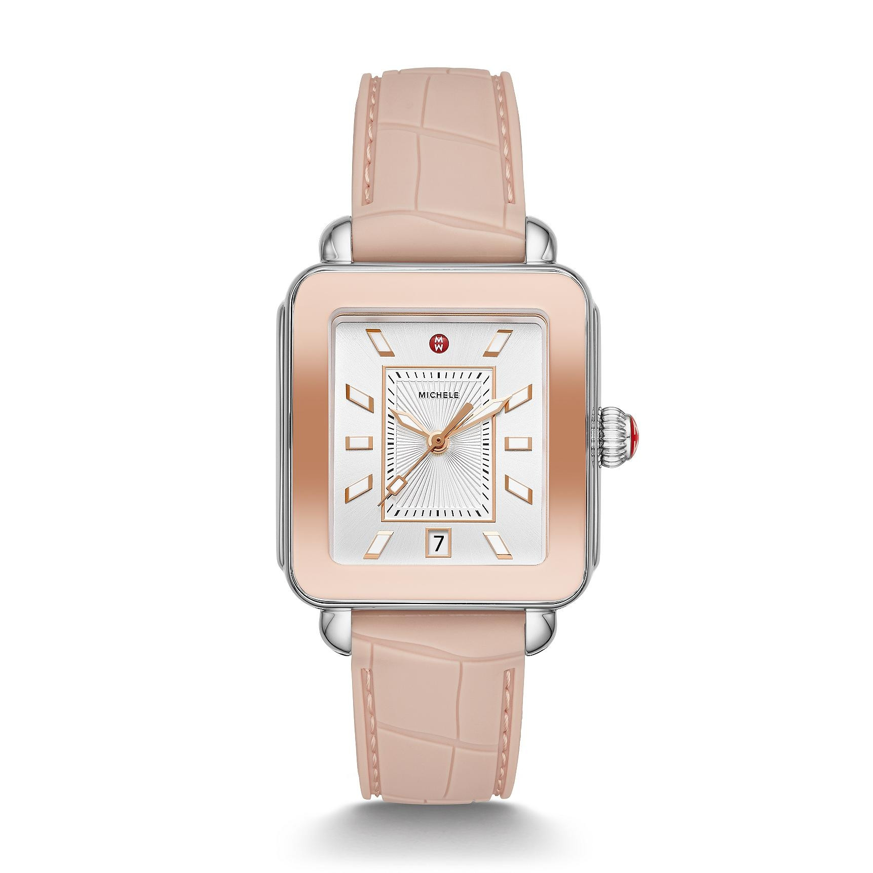 Michele Deco Sport Pink Gold Watch with Silver