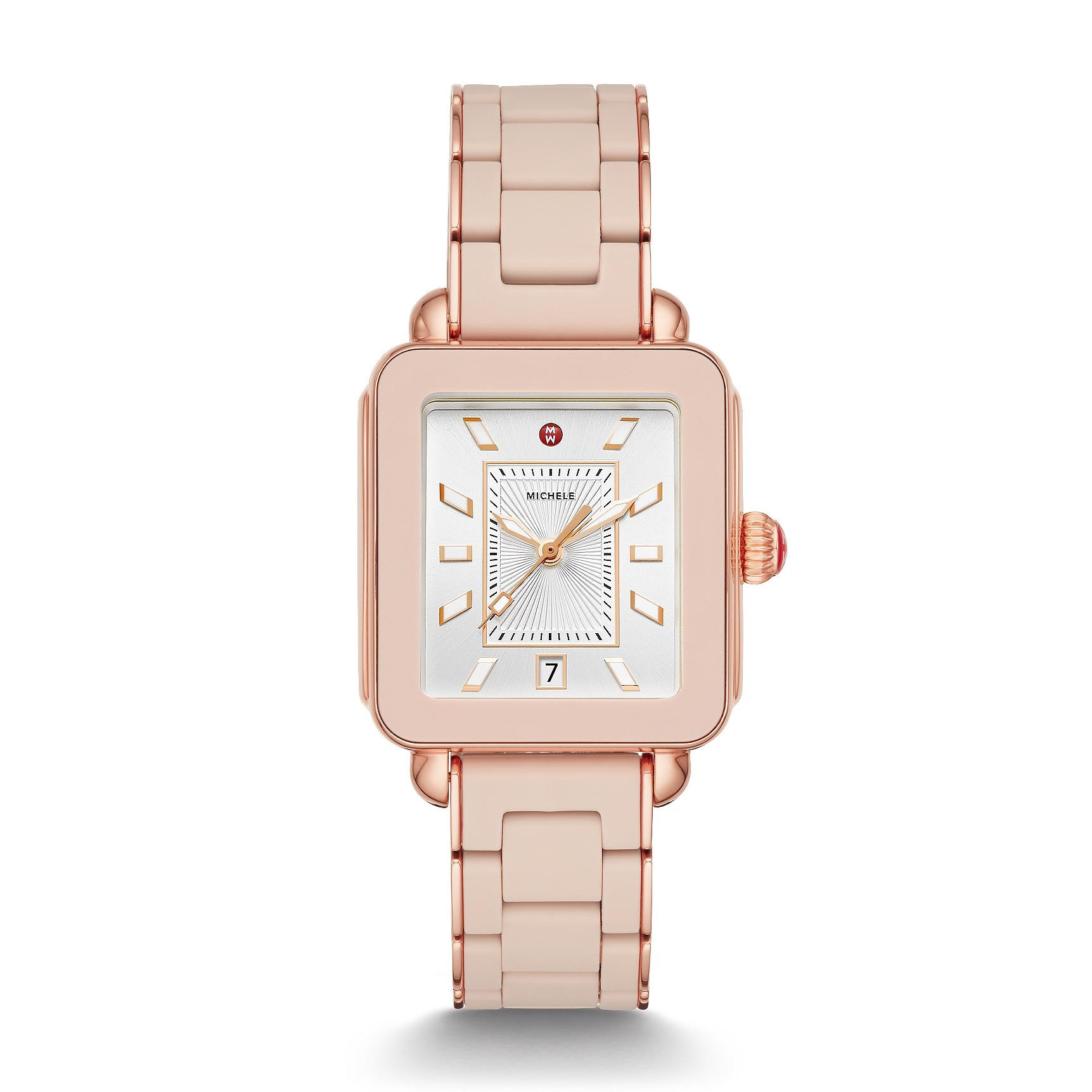 Michele Deco Sport Pink Gold Watch with Rose Rubber Link Strap