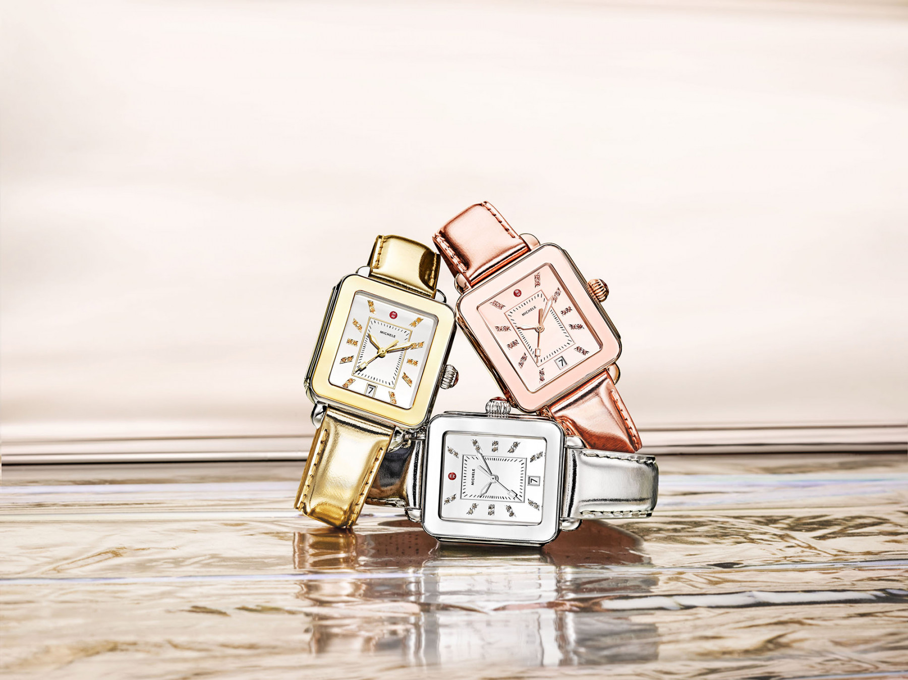 Michele High Shine Rose Gold Watch all metals