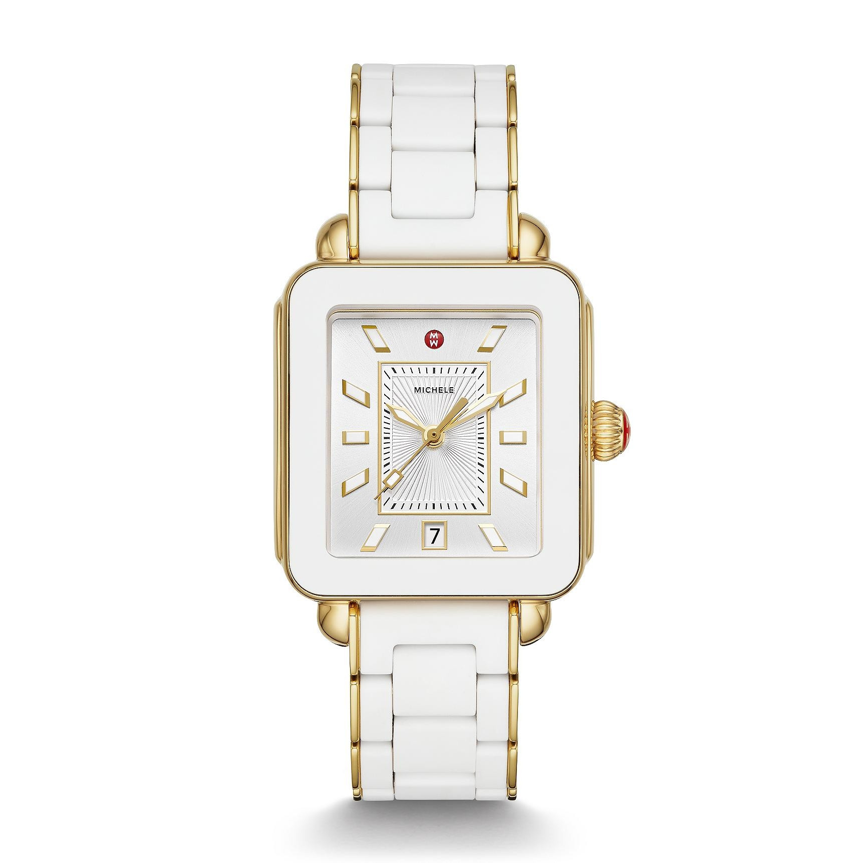 Michele Deco Sport White And Gold Watch On Rubber Link Strap
