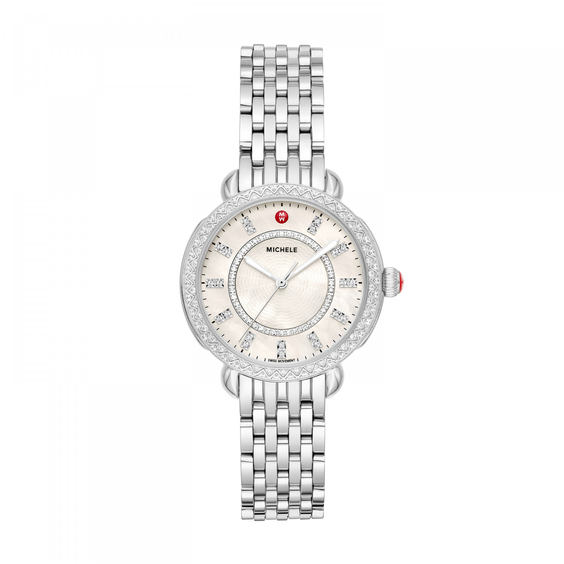 Michele Sidney Classic Round Steel Watch front view