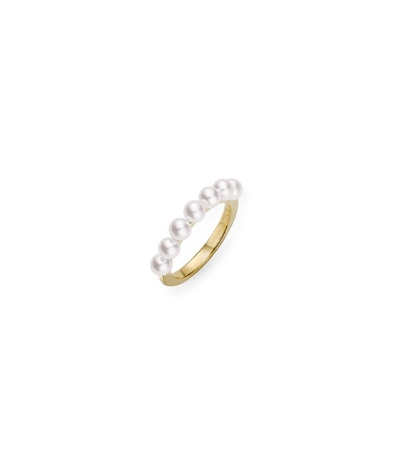 Mikimoto 18kt Yellow Gold Akoya Cultured Pearl Stackable Ring