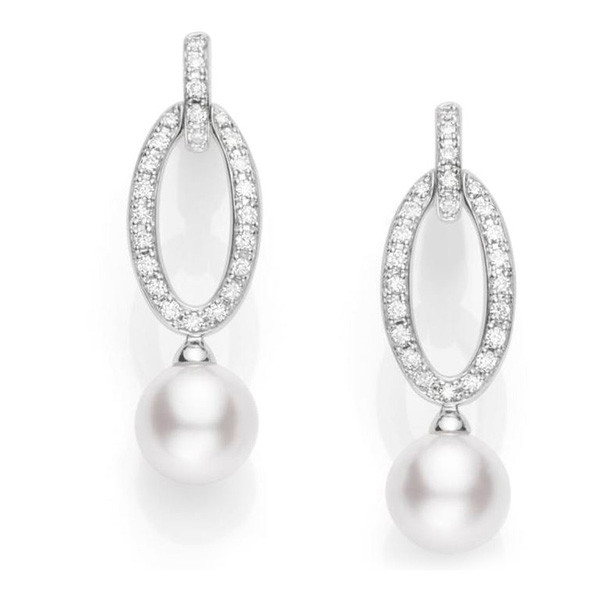 Mikimoto Classic White South Sea Pearl Oval Diamond Drop Earrings